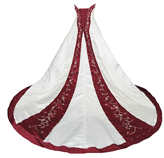 plus size wedding dress burgundy