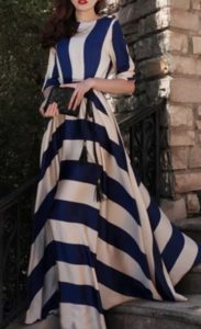 Navy Satin Striped